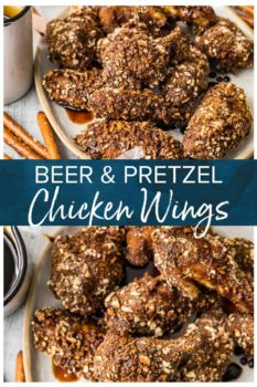 beer and pretzel chicken wings pinterest collage