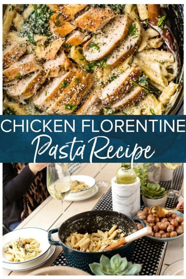 chicken florentine pasta pinterest image