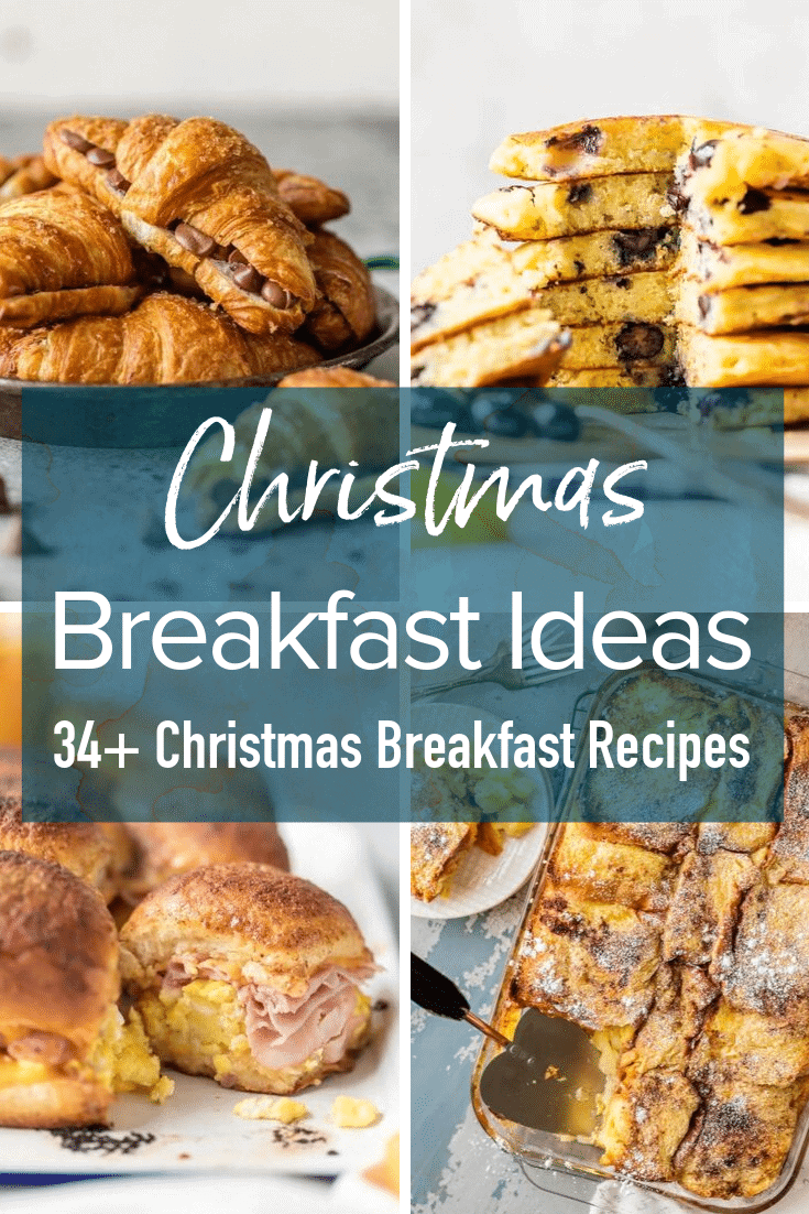 photo collage with text: Christmas breakfast ideas