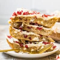 cranberry bliss bars with creamy frosting
