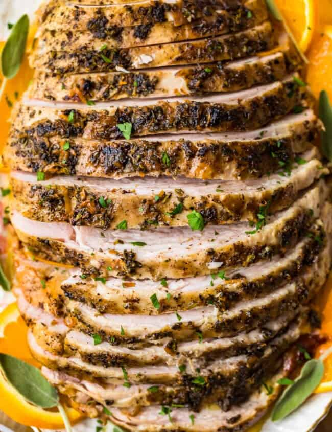 sliced crockpot turkey breast on plate