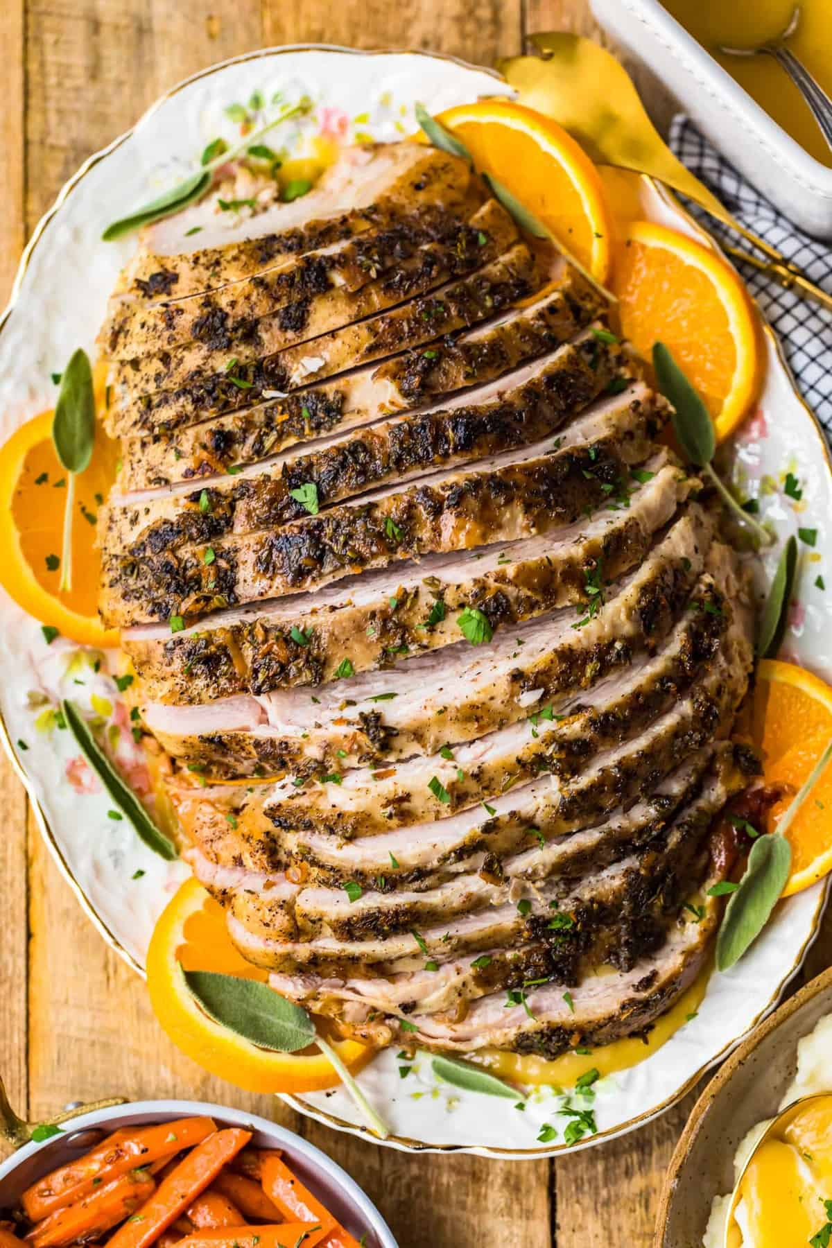 Top shot of sliced turkey breast on a serving plate