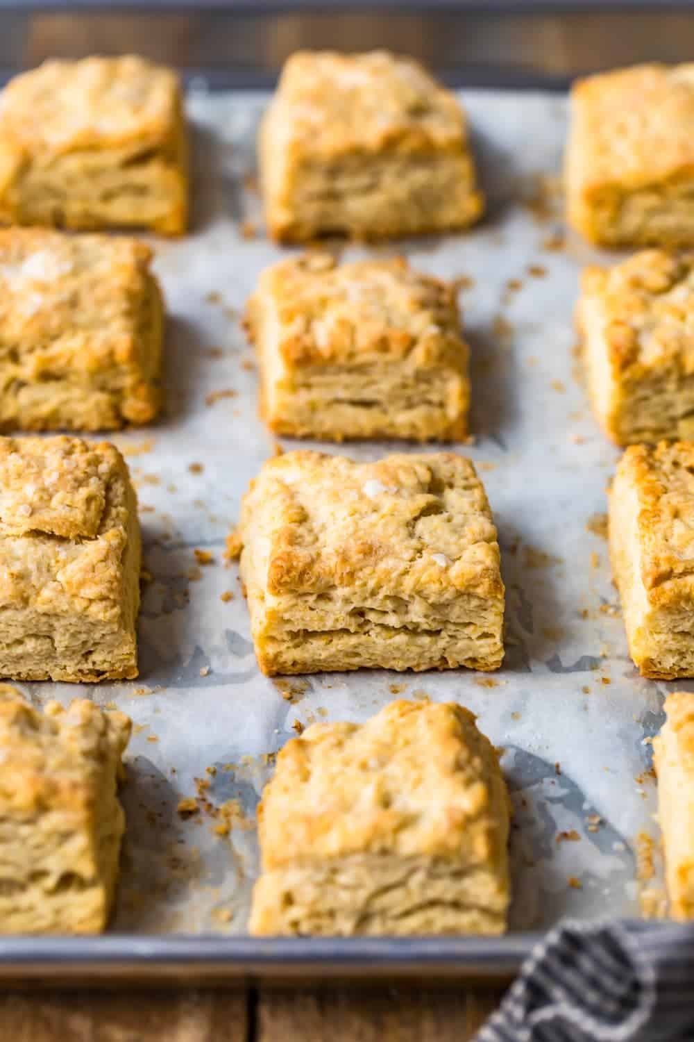 Easy Buttermilk Biscuits on a baking tray with parchment