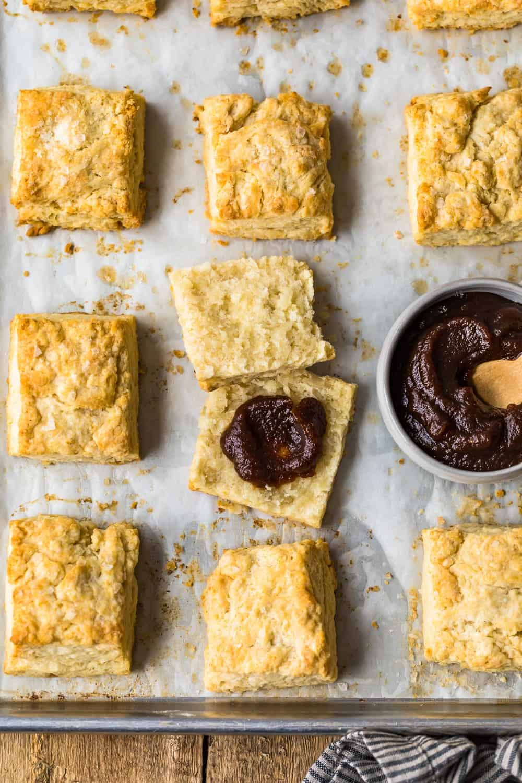 Biscuits cut in half