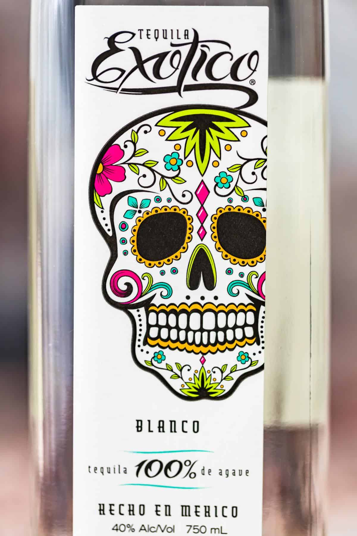 Close up view of tequila label