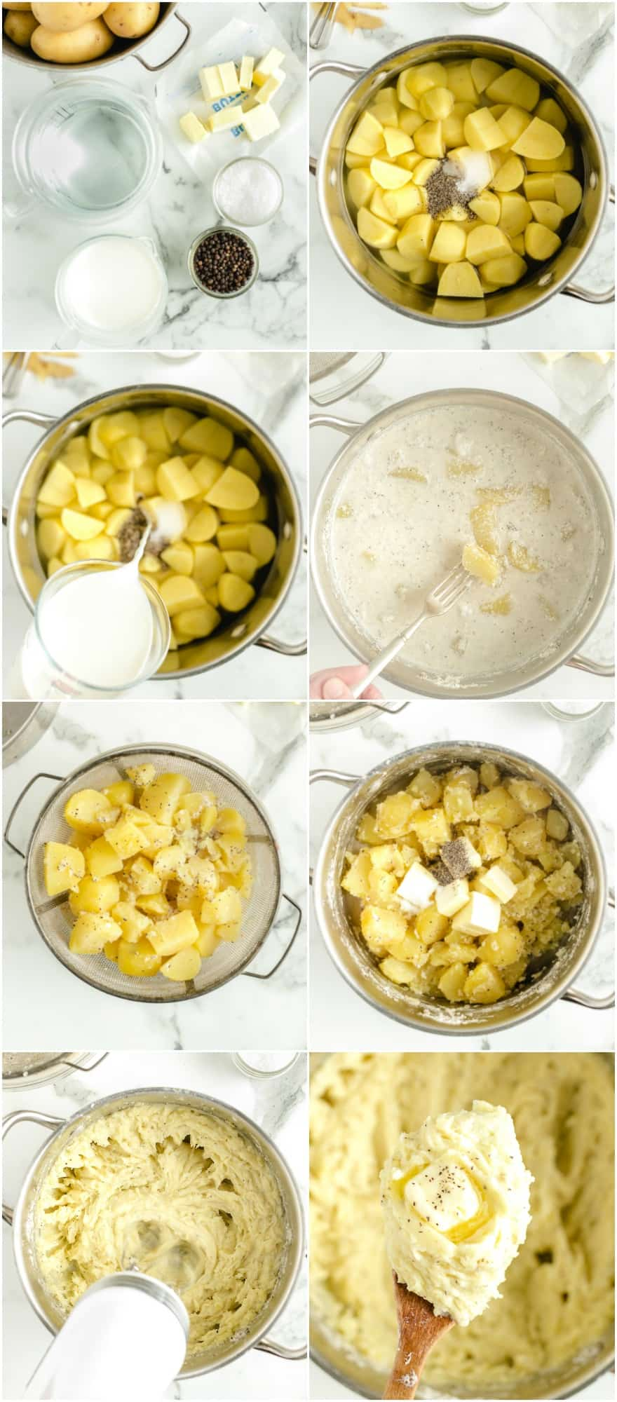 step by step photos of how to make mashed potatoes boiled in milk