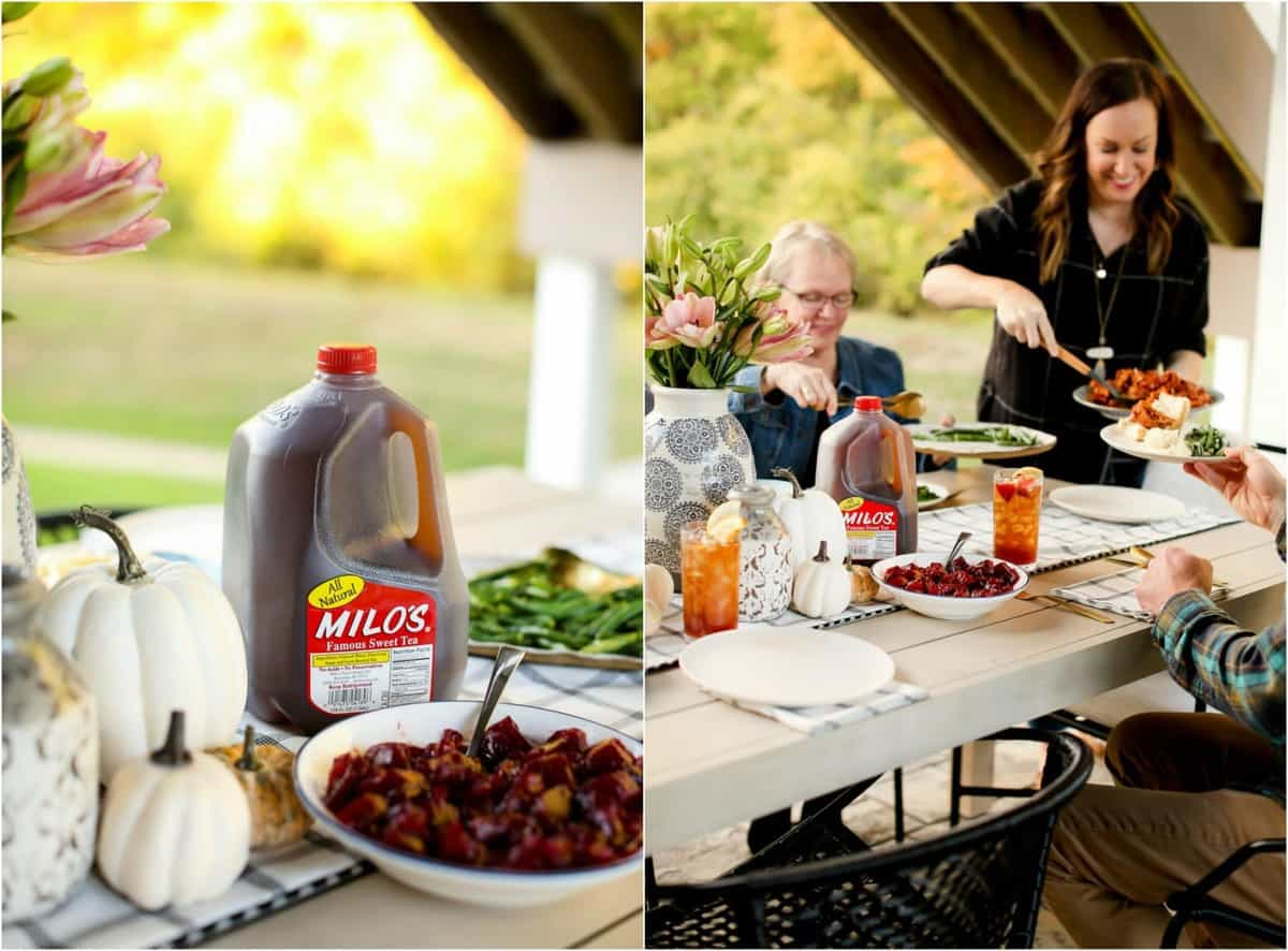 Photo collage of Milo's Sweet Tea next to white pumpkins and a family serving food to each other at Thanksgiving Dinner