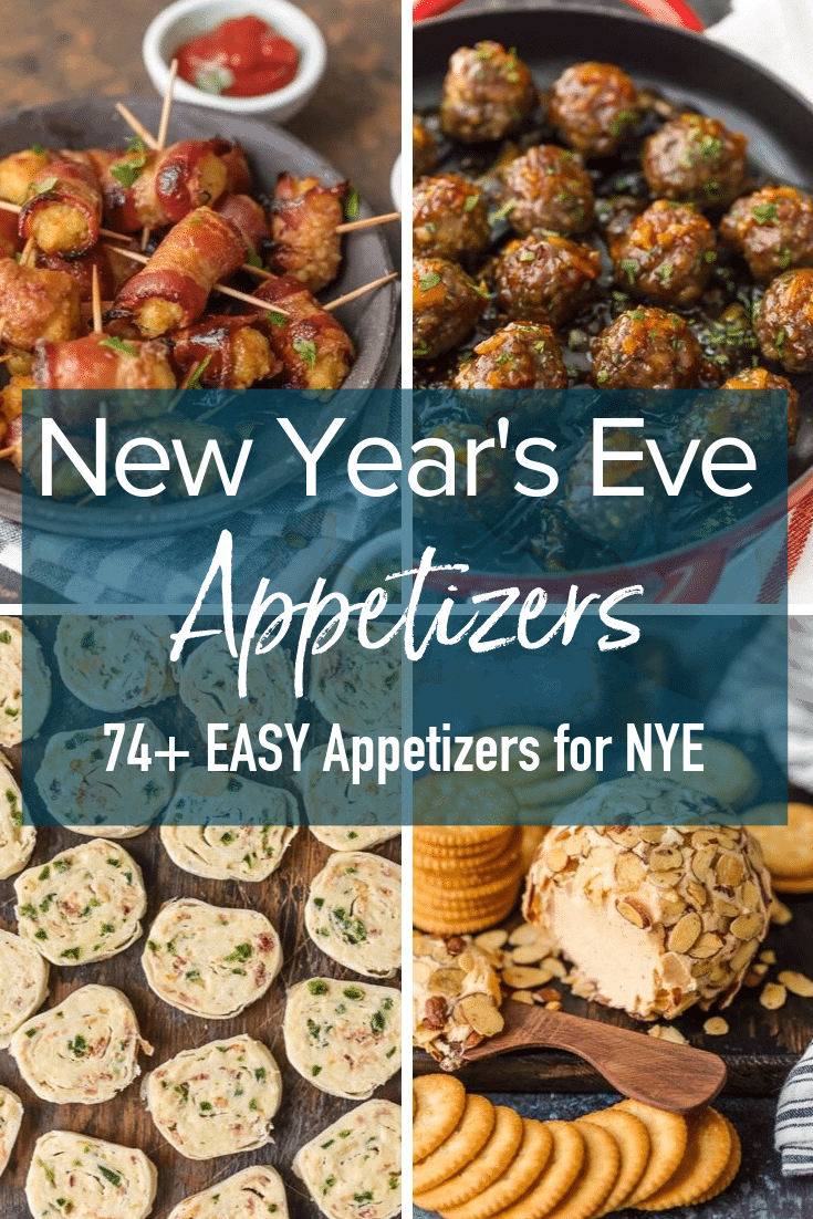 photo collage with text: new year's eve appetizers