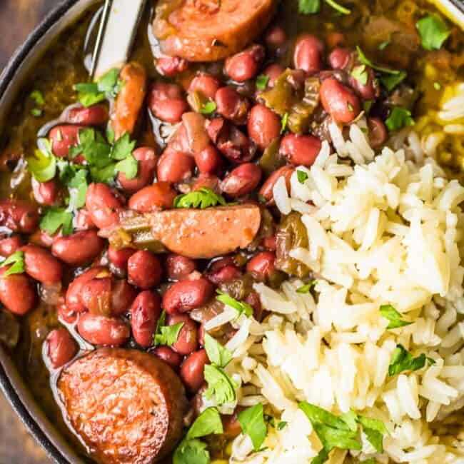 red beans and rice in bowl with spoon