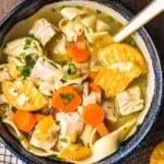 turkey noodle soup in bowl