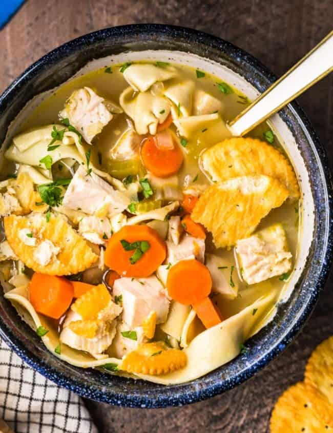 turkey noodle soup in bowl