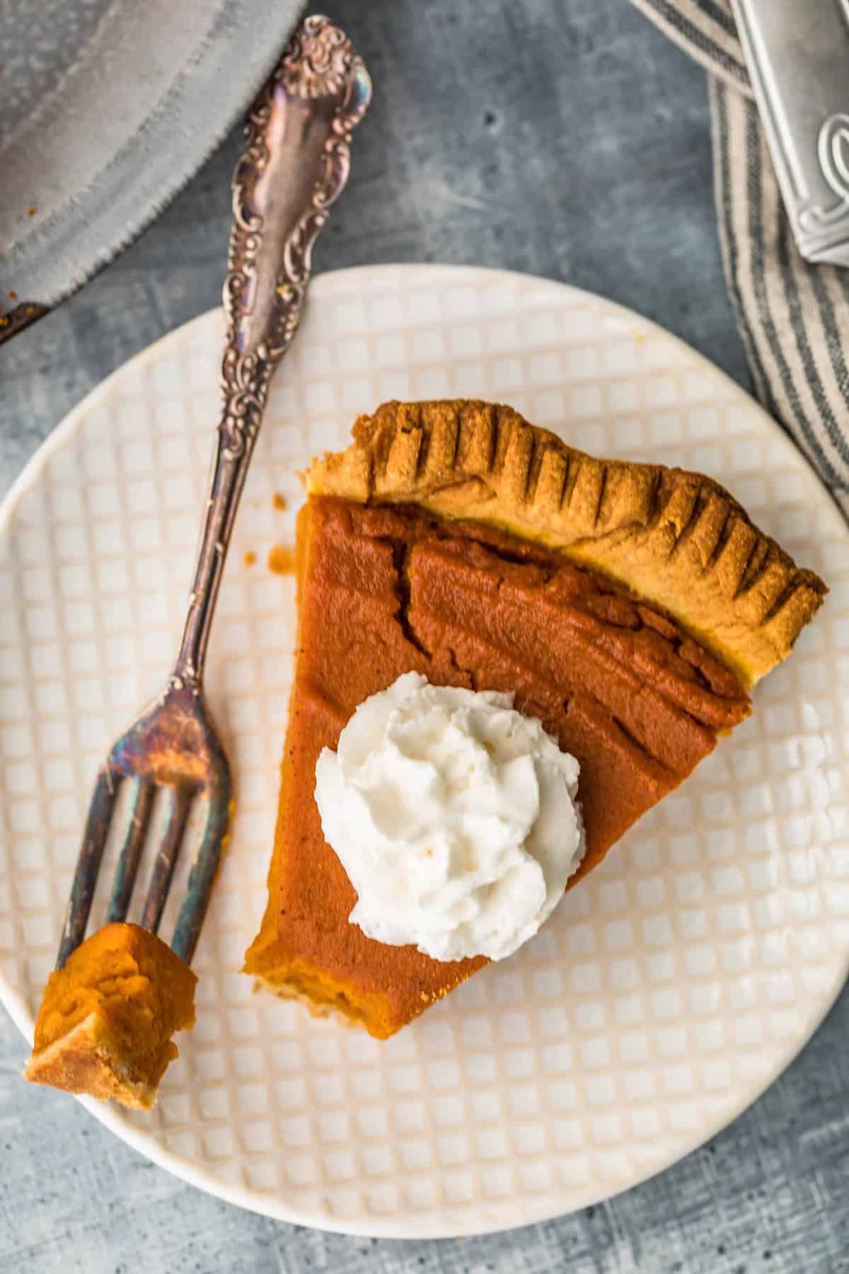 up close pic of pie on plate with fork