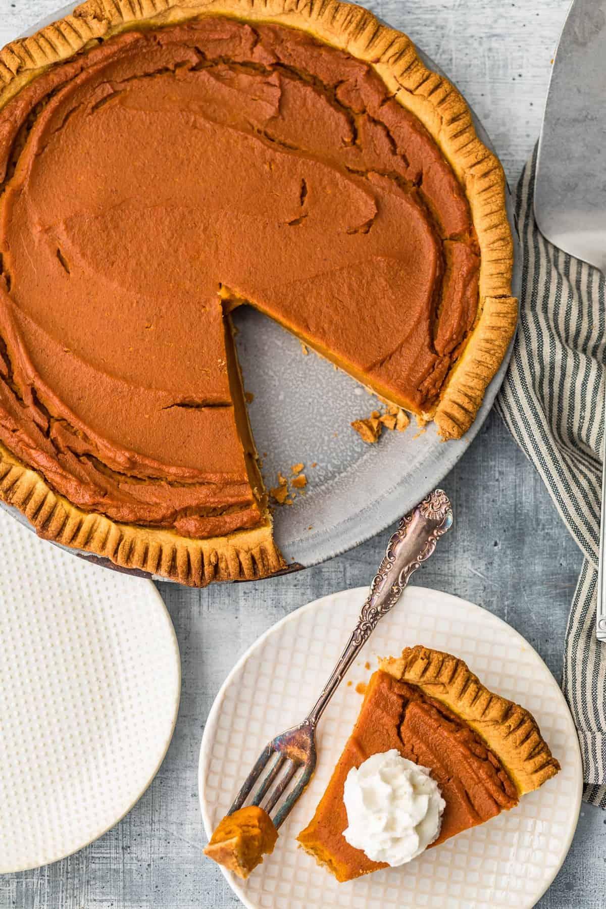 overhead picture of pumpkin pie