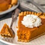 pumpkin pie on a plate
