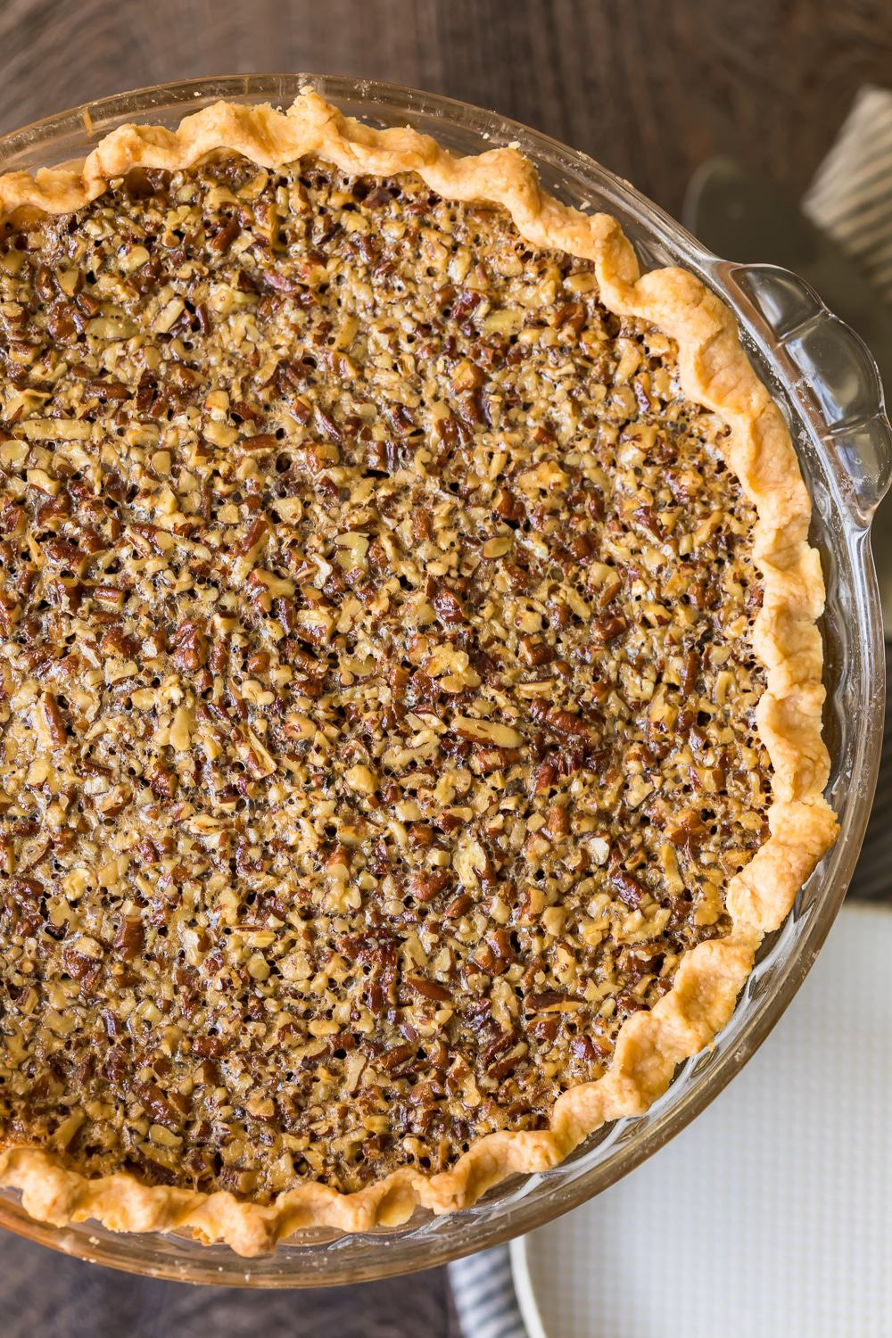 The pecan pie right out of the oven