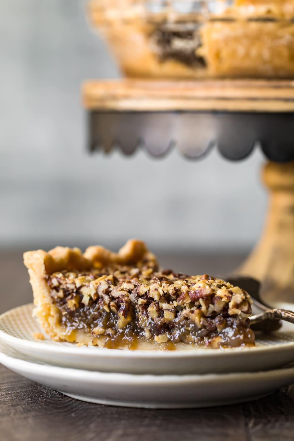 A slice of pecan pie served and ready to eat