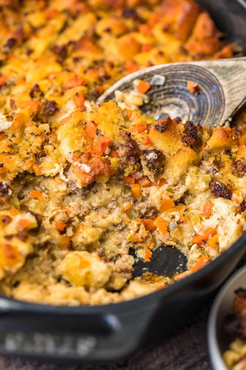 Close up of the stuffing on a wooden spoon