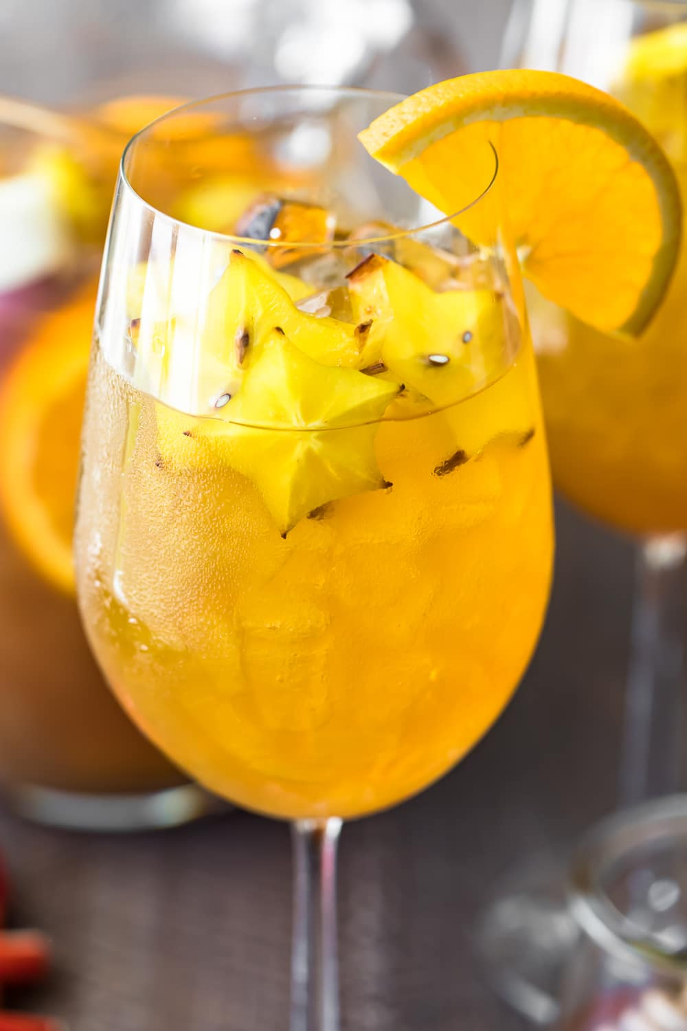 fall sangria served in a wine glass