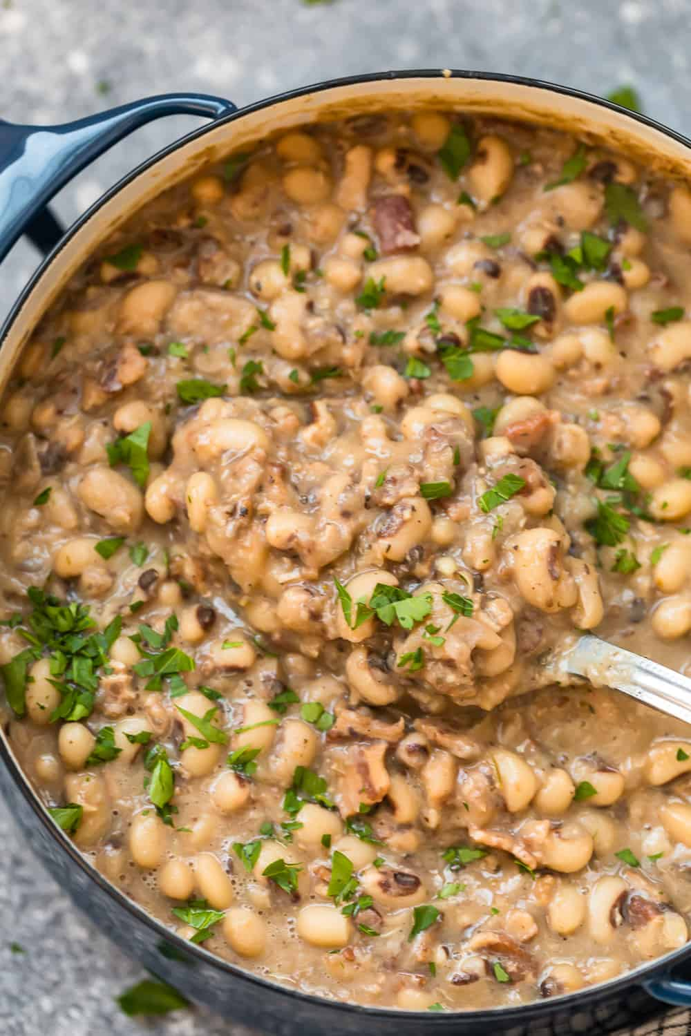 black eyes peas in a large pot
