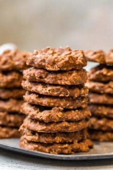 stacks of chocolate no bake cookies on a plate