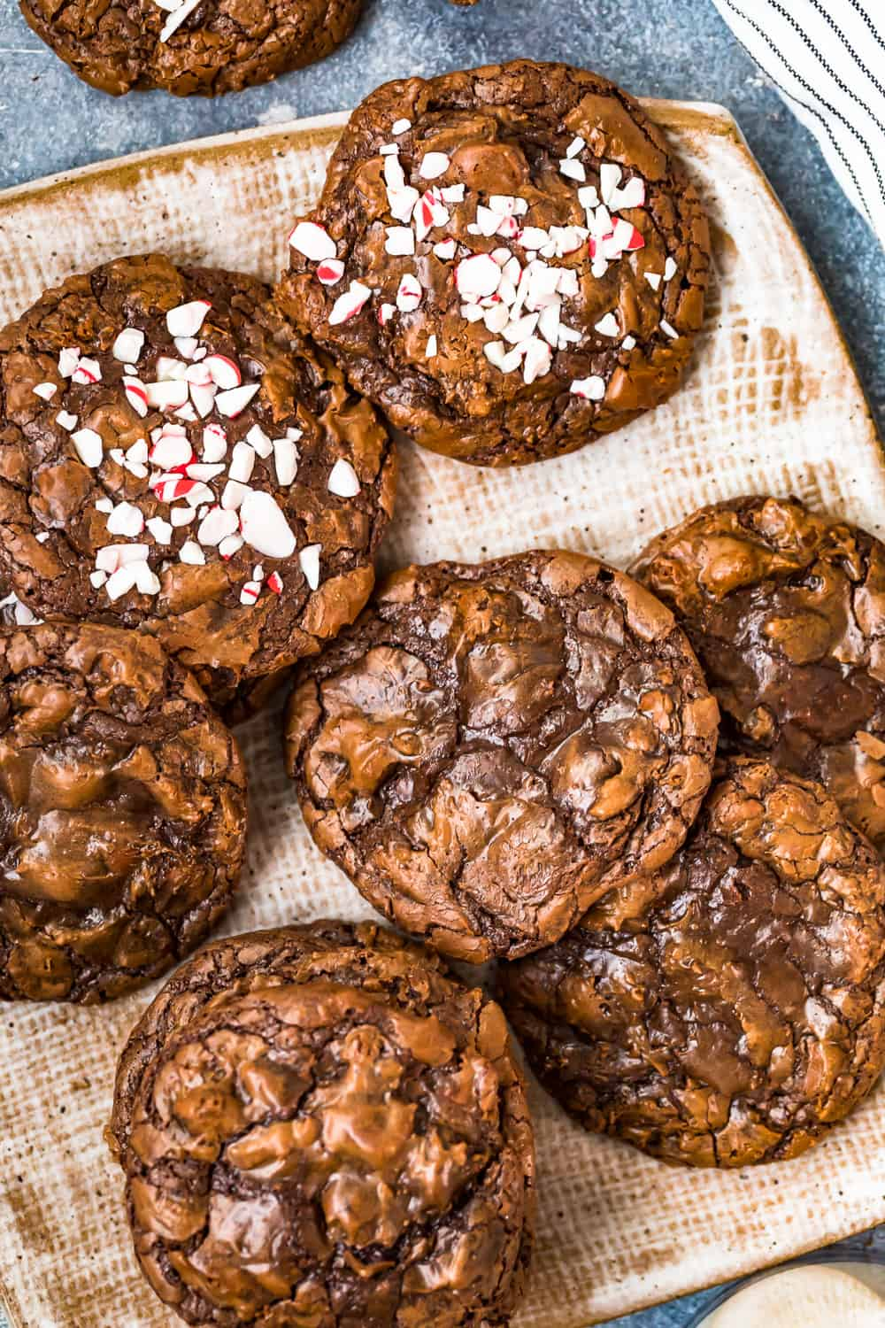 chocolate fudgy brownie cookies on a plate