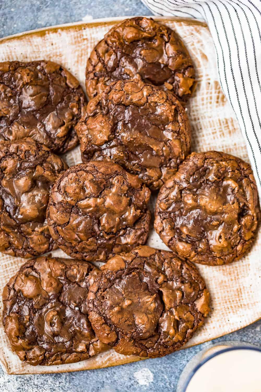 fudgy brownie cookies on a plate