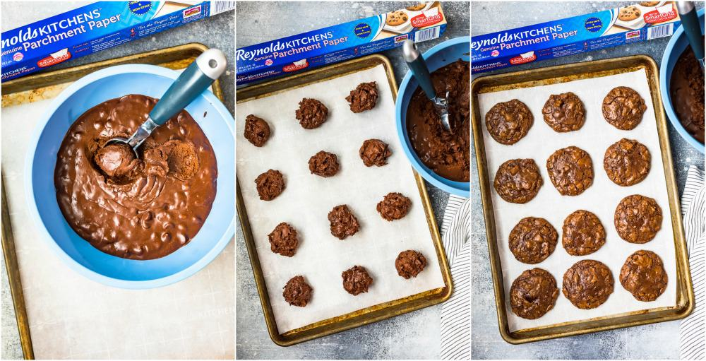 photo collage of scooping cookie dough onto cookie sheet with reynolds parchment paper