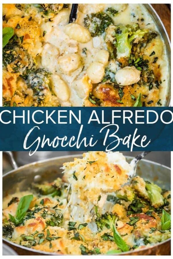 chicken alfredo gnocchi bake pinterest collage