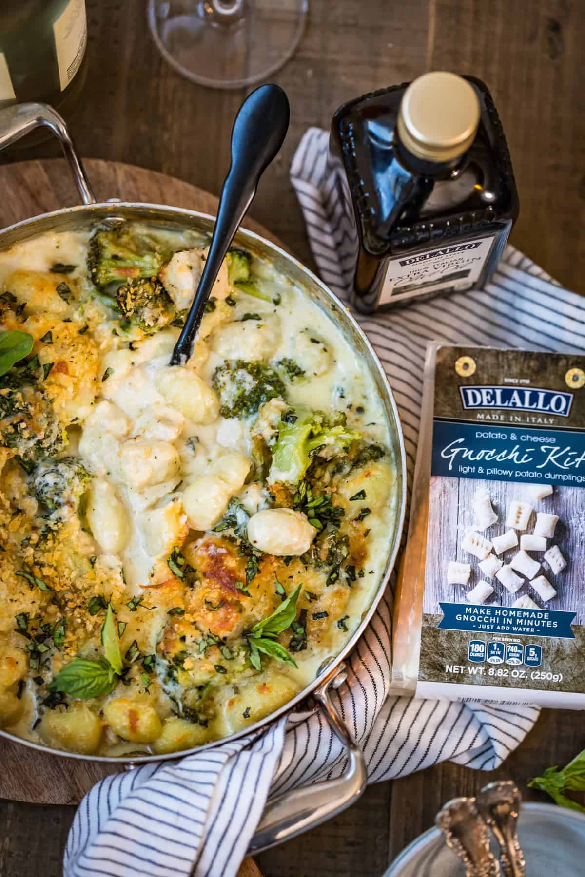 Over the top view of Chicken Alfredo Gnocchi Bake with Delallo Gnocchi Kit