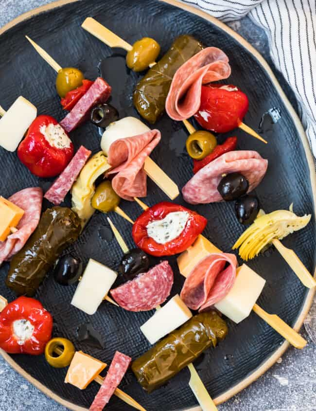 colorful antipasto skewers