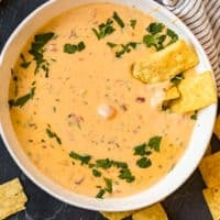 queso cheese dip in a bowl with chips