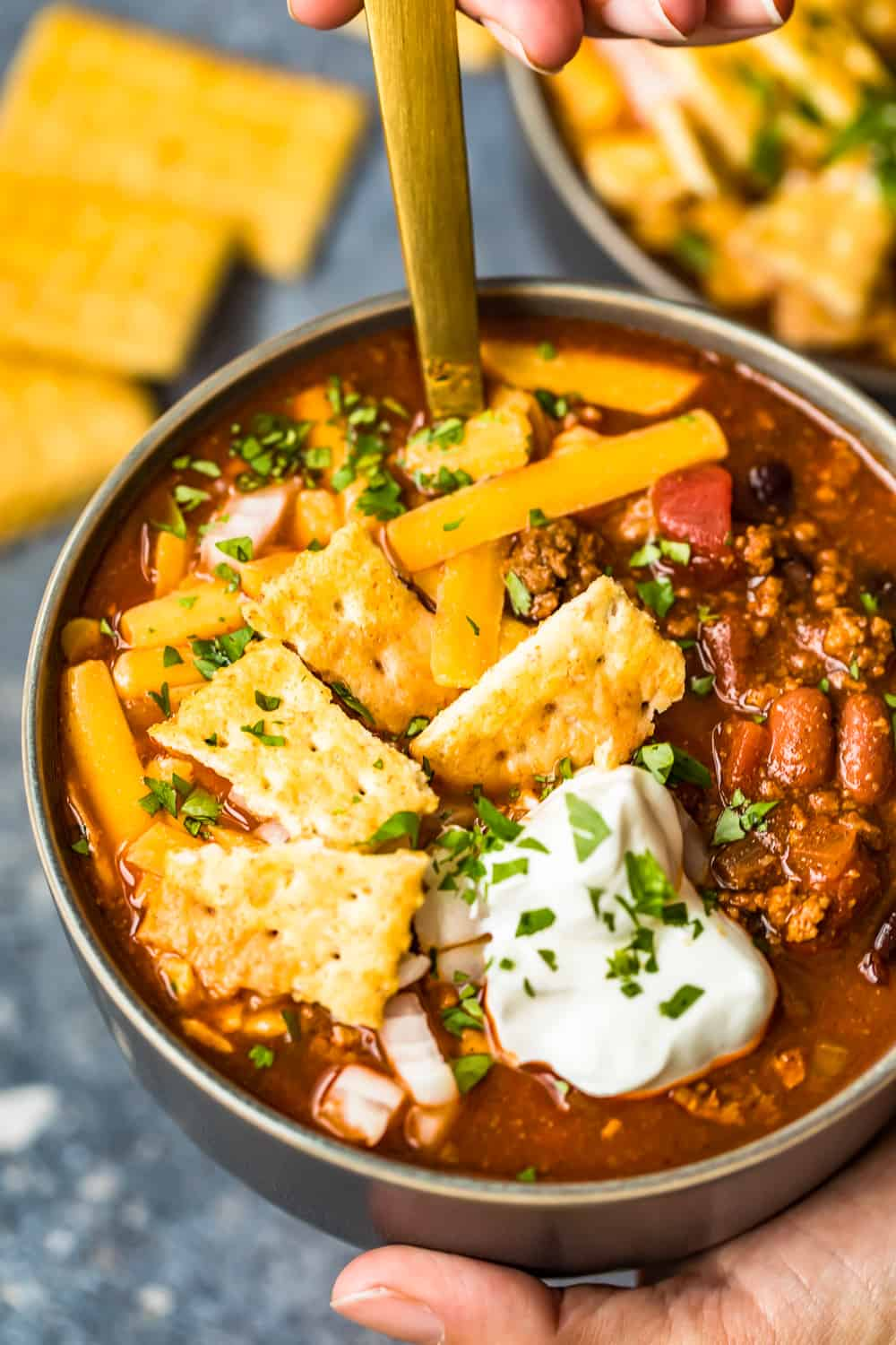bowl of delicious crockpot chili
