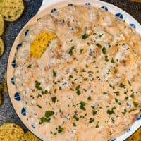crockpot sausage cream cheese dip in a bowl surrounded by tortilla chips