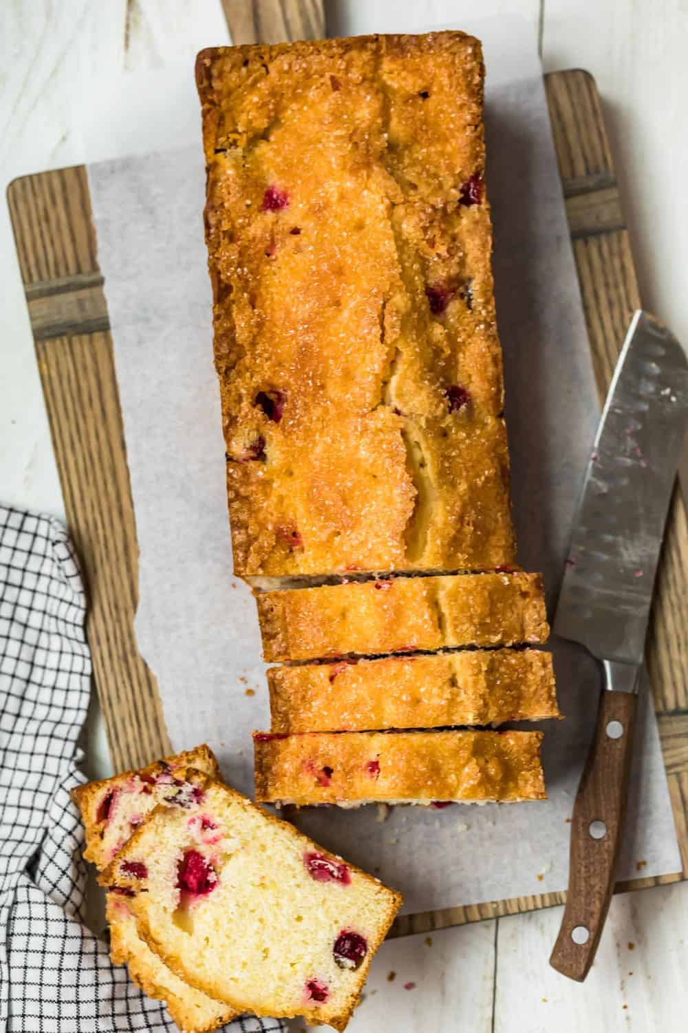 Glazed Lemon Cranberry Bread cut into slices