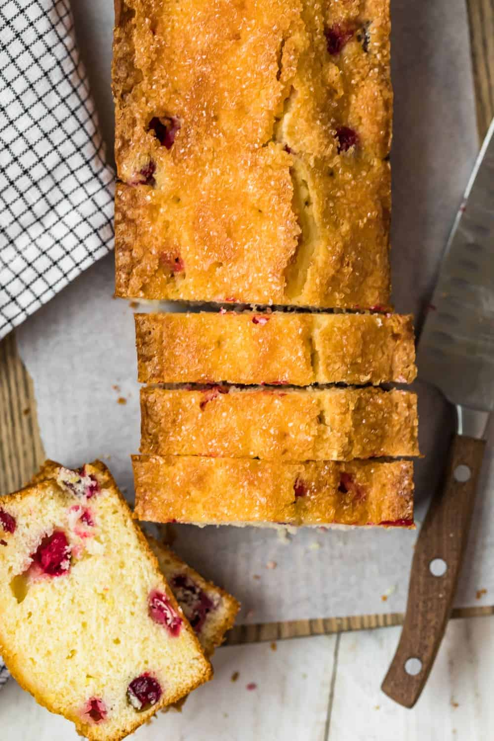 Slices of Glazed Lemon Cranberry Bread