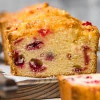 glazed lemon cranberry bread loaf