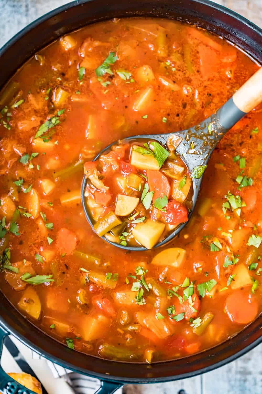 spoonful of hearty vegetable soup