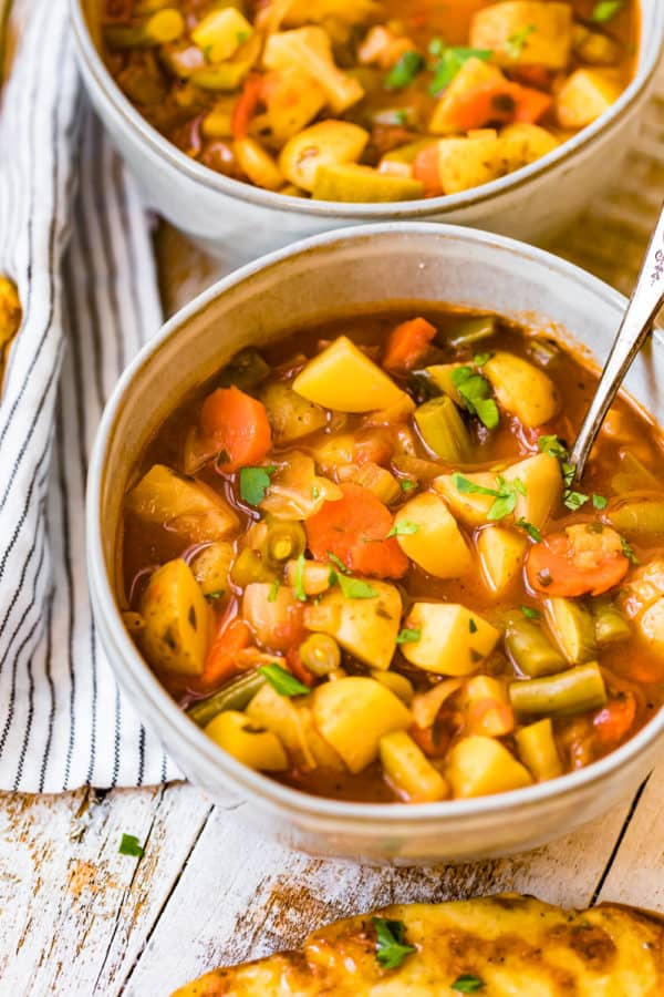 bowls of vegetable soup