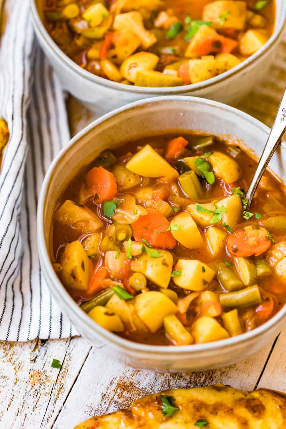Two bowls of Hearty Vegetable soup