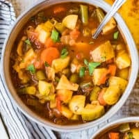 hearty vegetable soup in a bowl