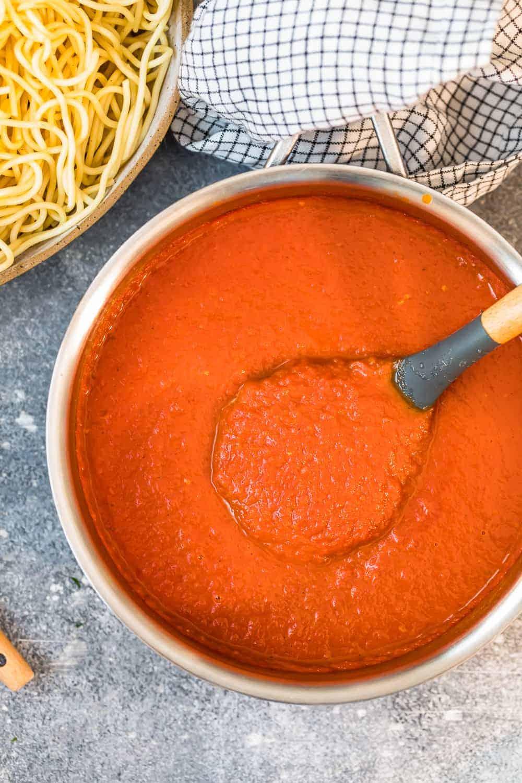 homemade marinara sauce in pot