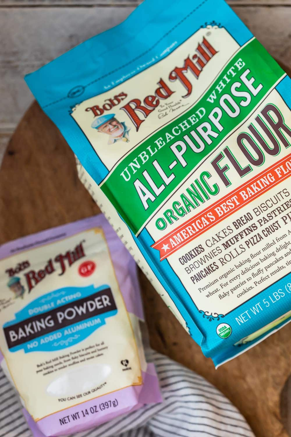 a bag of bob's red mill flour and baking powder