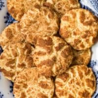 snickerdoodle cookies on a white and blue plate