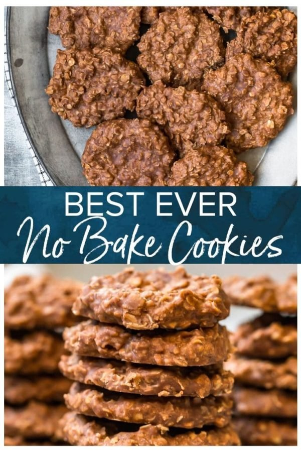 Best Ever No Bake Cookies- Pinterest collage