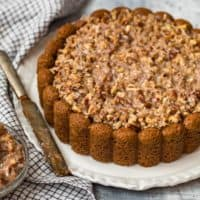 old fashioned oatmeal cake on a plate