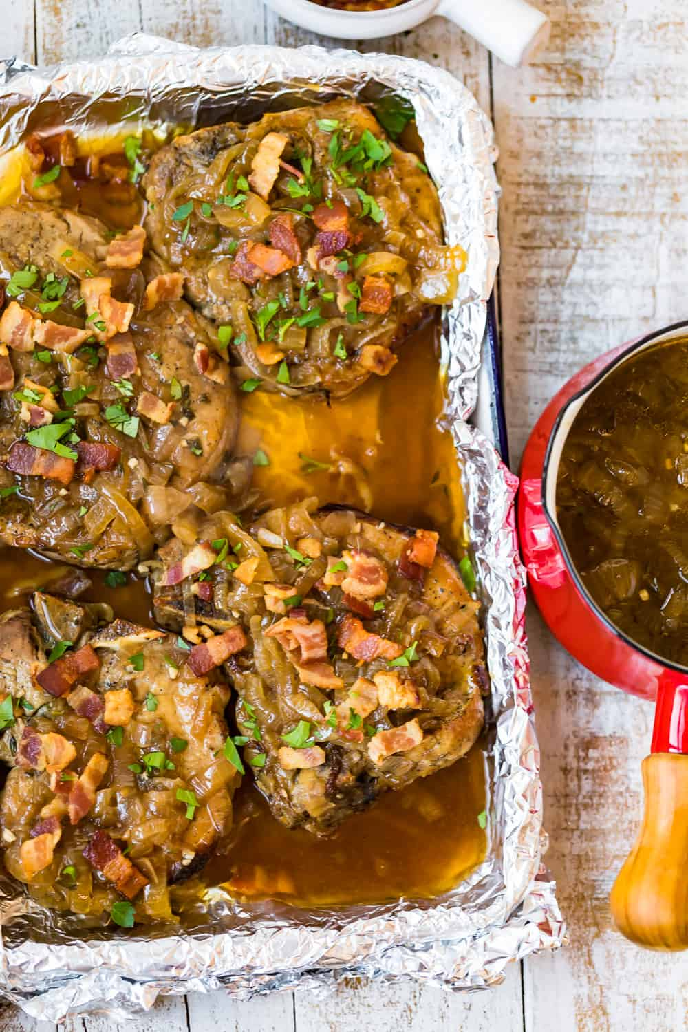 crock pot smothered pork chops in baking pan