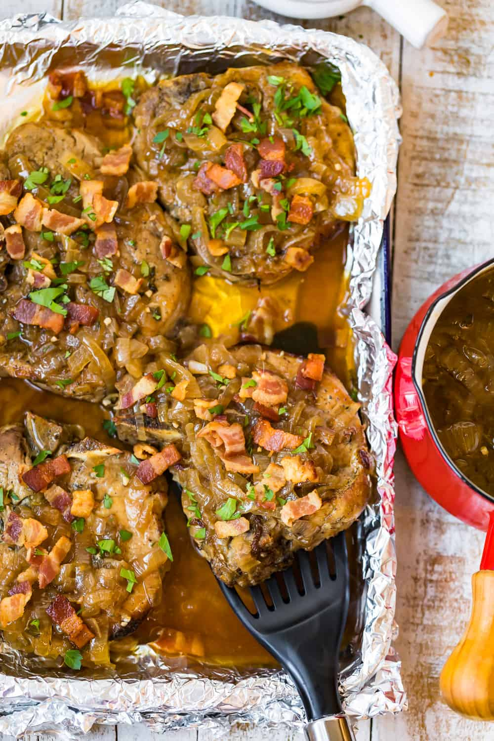 crock pot smothered pork chops in pan