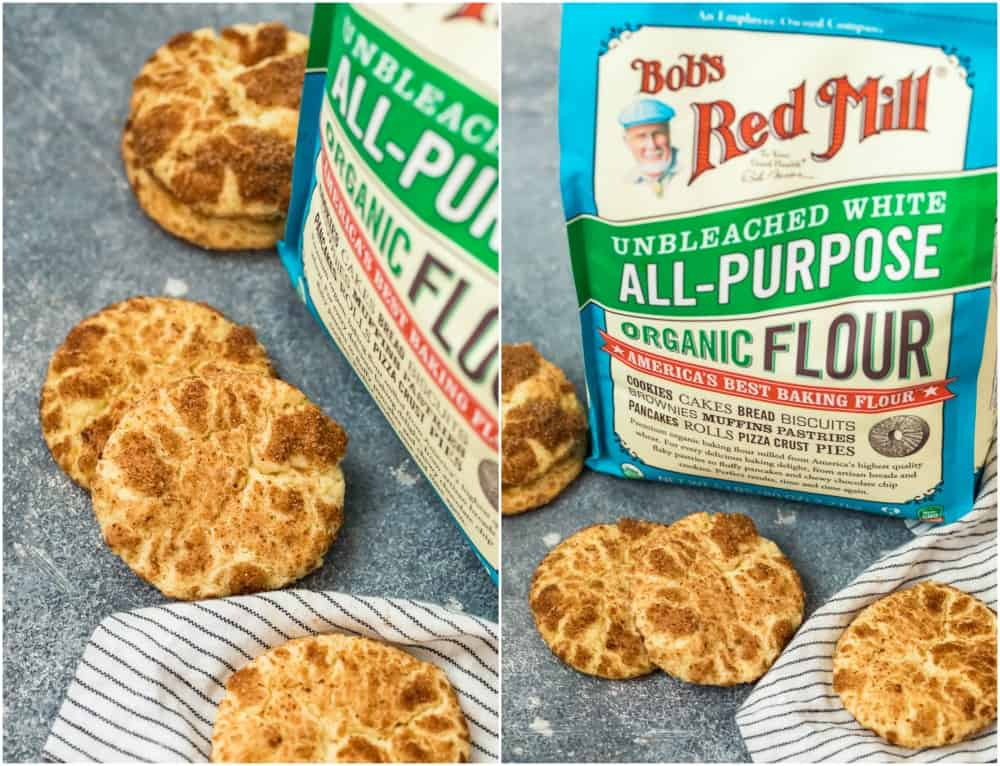 photos of snickernoodle cookies and bob's red mill flour bags