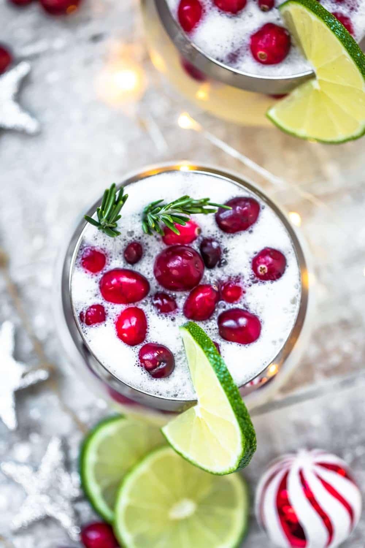 overhead image of christmas cocktail