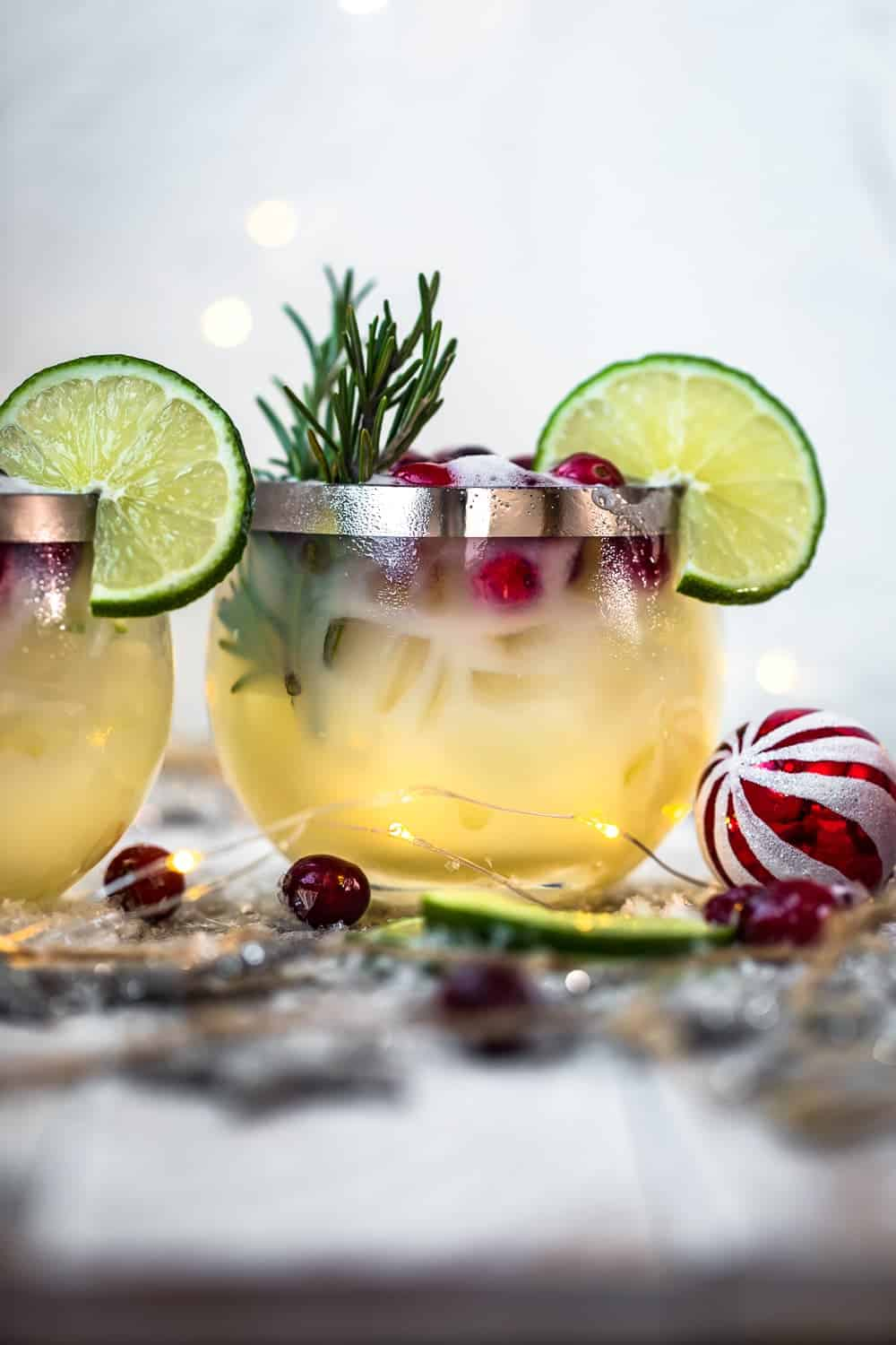 white christmas tequila sours in glasses